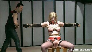 Rough chest torture session for adult slut Jada Sinn. HD video