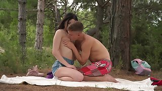 Sex up the forest for a shy awaiting Russian teen
