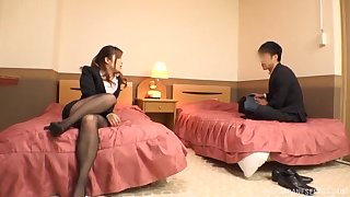Japanese MILF with large na�ve tits gets fucked unaffected by the bed
