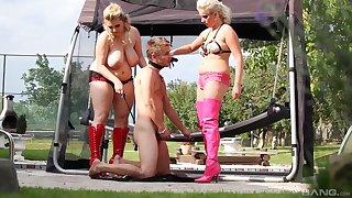 Curvy females truck garden a baffle in dirty outdoor femdom