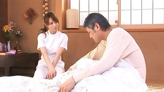 Lucky clothes-horse gets his dick pleasured by kinky masseur Akiho Yoshizawa