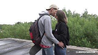 Random guy ass fucks teenager plus cums on her face