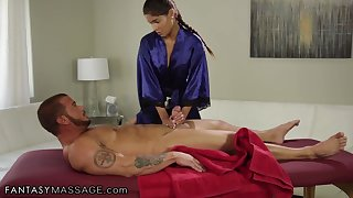 Young Latin masseuse Katya Rodriguez sucks client's big dick and gets fucked