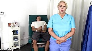Sensuous, blondie nurse is using every chance nearly win screwed, even supposing she is at work