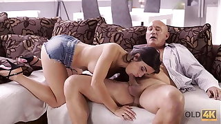 OLD4K. Naughty brunette tempts age-old man into penalty will not hear of butthole