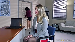 Two naked females in hot office lezzie porn with big toys