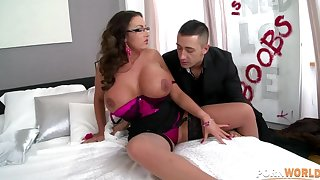 Curvy nympho Emma Derriere gets her big titties and wringing wet pussy fucked hard GP1033