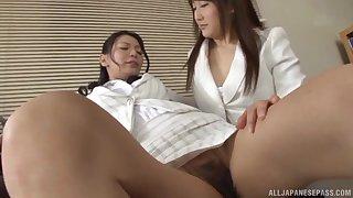 Glamorous Japanese babes play with large sex toys. Kudou Misa
