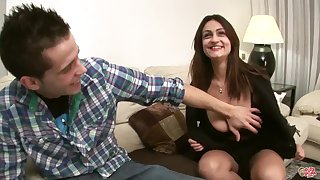 Sandra Milka fucked not susceptible sofa - young brunette with monster tits