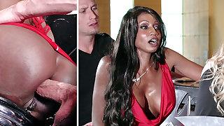 Bartender banged buzzed column ass fucking in 3some