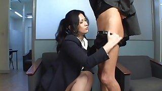 Horny Japanese couple dicking at hand the nomination - Chinami Sakai