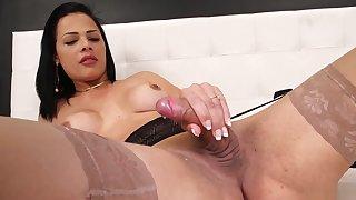 Cute tgirl masturbates solo in lingerie
