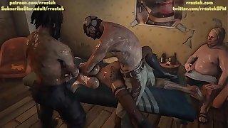 Lulu providing escorts worship army to multiple depraved men inside a shady hotel room 3D Ardour