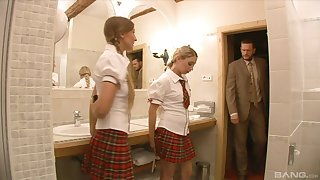 Blonde teens Morgan Moon and Loren Minardi forced to swallow cum