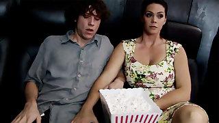 Horny milf touch shy stepson's dick in cinema