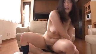 Oriental cutie gets pussy fingered