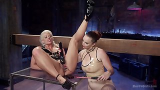 Electrifying BDSM and electro dissemble for Holly Heart and Bella Rossi