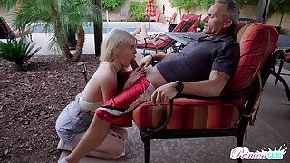 Obsessed with dealings teen Megan Holly gets into pants of old step daddy