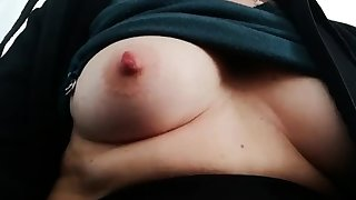 Heavy bitch rubs her fat pussy and nipples