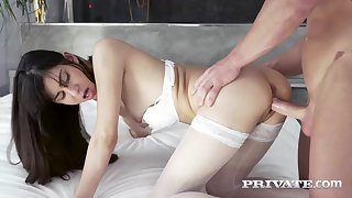 Anya Krey is having anal sex for the first time ever, and enjoying seem to be