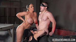 Tied up and blindfolded dude pleasured by Jamie Elle & Heartbreak Blackwell